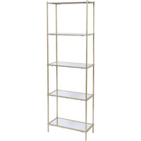 Mylas Five Tier Shelving Unit With Mirrored Panels