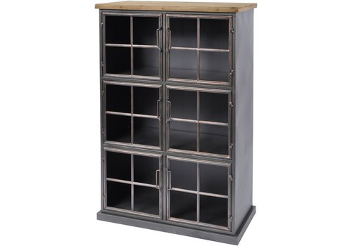 Homestore Moresby 6 Door Wood And Iron Cabinet