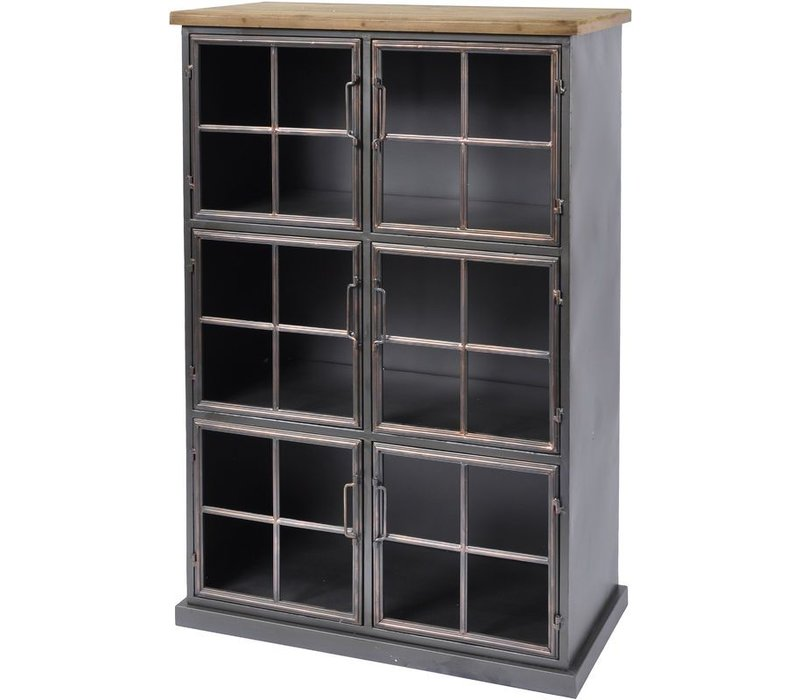 Moresby 6 Door Wood And Iron Cabinet