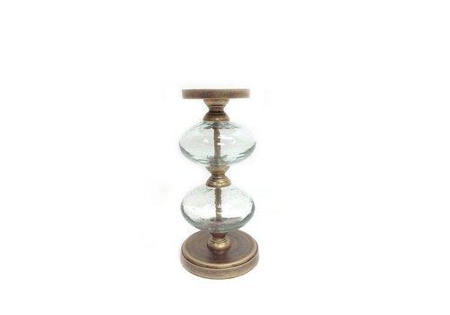 Homestore Romana Antique Gold Glass Bubble Pillar Candle Holder Medium