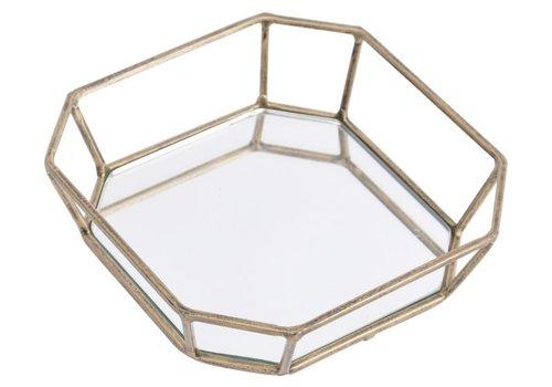 Homestore Platonic Antique Gold Square Decorative Mirrored Trinket Tray