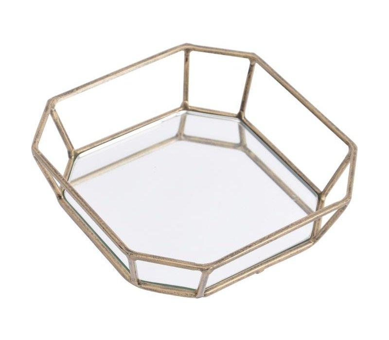 Platonic Antique Gold Square Decorative Mirrored Trinket Tray