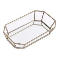 Platonic Antique Gold Rectangular Decorative Mirrored Trinket Tray