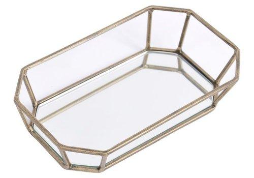 Homestore Platonic Antique Gold Rectangular Decorative Mirrored Trinket Tray
