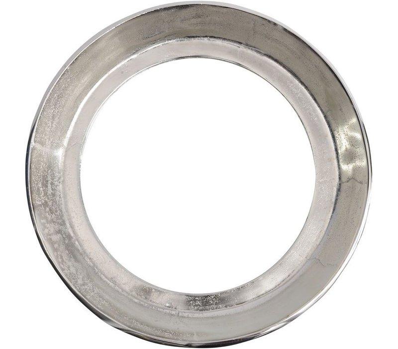 Dalvich Polished Silver Round Aluminium Mirror Small