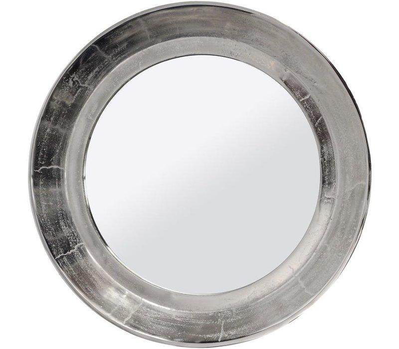 Dalvich Polished Silver Round Aluminium Mirror Medium