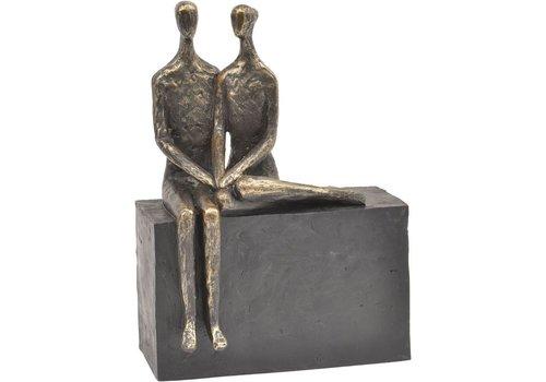 Homestore Antique Bronze Couple On Block Sculpture
