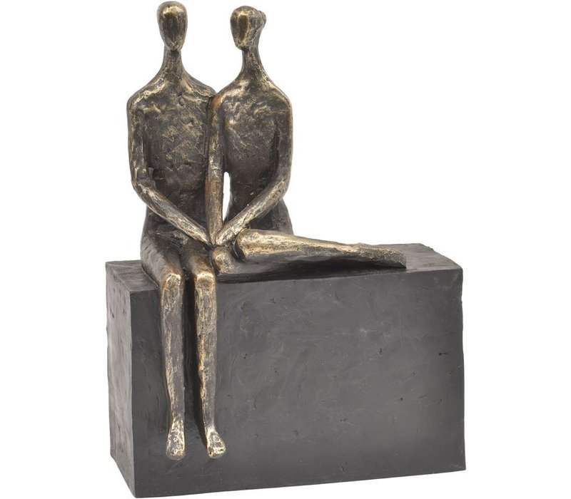 Antique Bronze Couple On Block Sculpture
