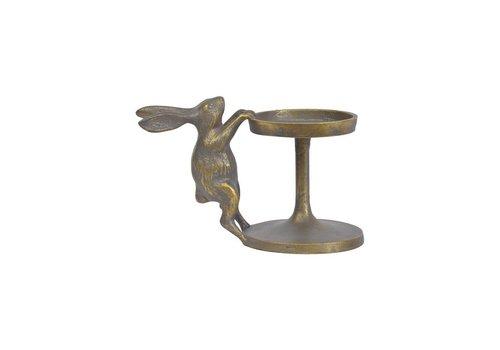 Homestore Antique Brass Aluminium Bunny Pillar Candle Holder