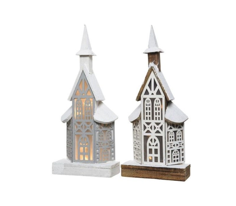 LED wooden house in natural or grey - 10 lights (tall)