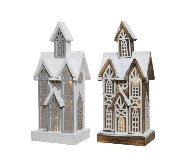 LED wooden house in natural or grey - 10 lights