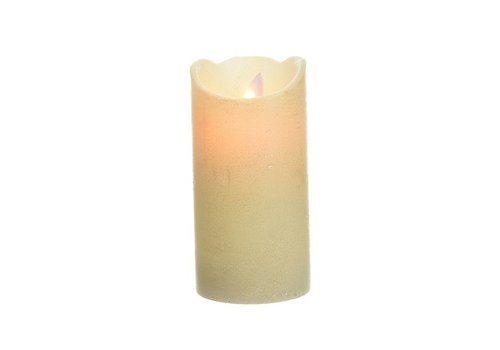 Christmas LED wax waving candle w glitter metallic finish - tall