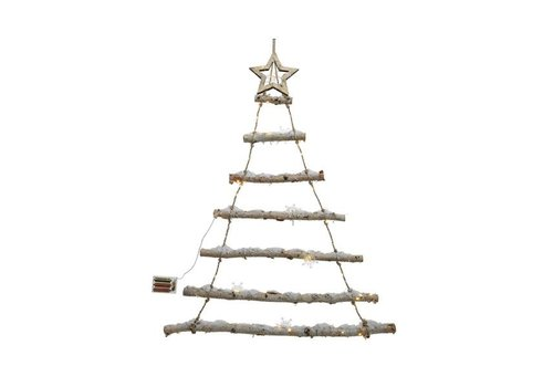 Christmas LED birch tree with 7 branches - snow, snowflakes & warm white lights (timer)