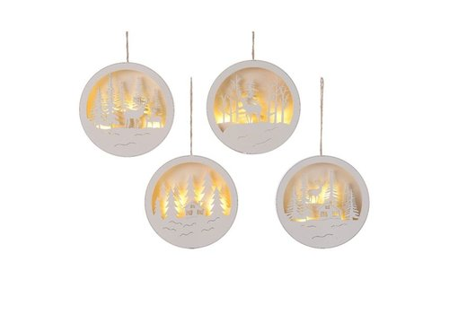 Christmas LED hanging round scene in white - 4 different scenes (timer)