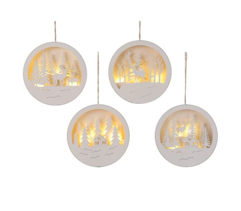 LED hanging round scene in white - 4 different scenes (timer)