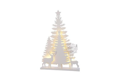 Christmas LED white plywood forest scenery - 12 lights (timer)