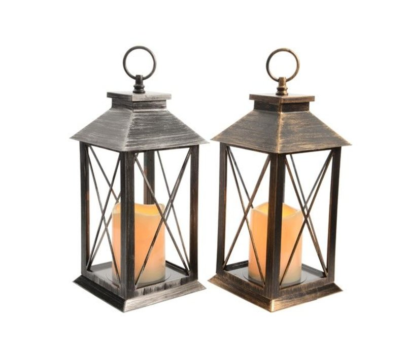 LED lantern in bronze or silver with flickering flame candle (timer)