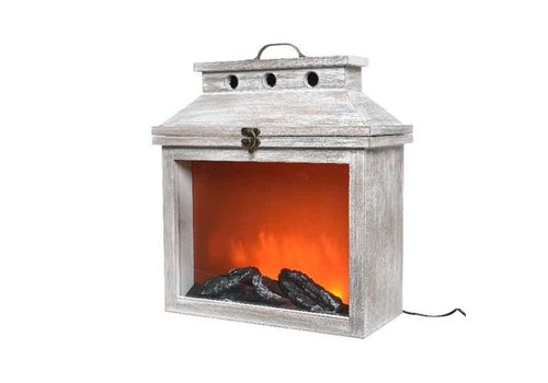 Christmas LED wooden fireplace grey washed with flame