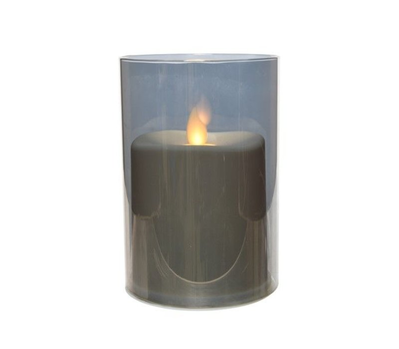 LED waving candle in smokey grey electroplated glass, small (timer)