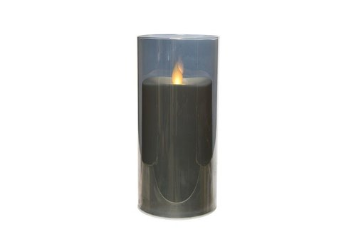 Christmas LED waving candle in smokey grey electroplated glass, medium (timer)