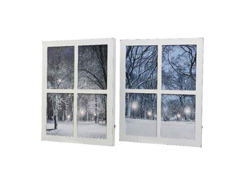 Christmas LED MDF window canvas in 2 assorted designs 40x50cm
