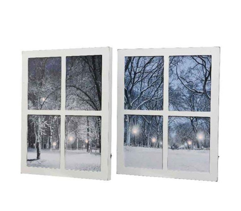 LED MDF window canvas in 2 assorted designs 40x50cm