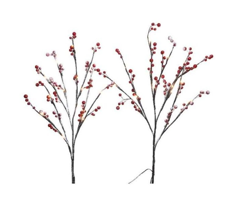 LED snowy red berry branches with warm white lights (set of 2)