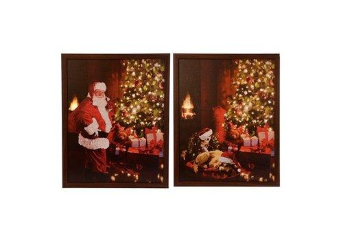 Christmas LED fiber optic canvas with Santa scenes 40x50cm