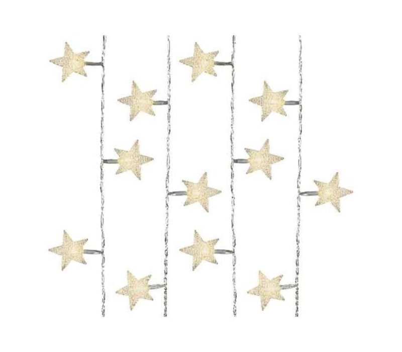 LED lights with transparent star design in warm white - 40 lights