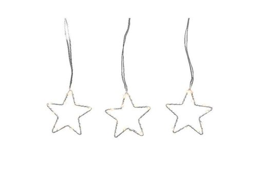 Christmas micro LED star string lights on silver wire in warm white - 96 lights