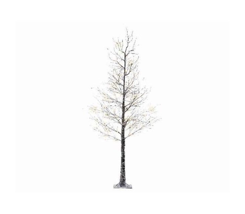 LED Xmas tree with snow & warm white LED lights - 96 lights - 180cm