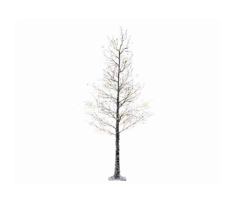 LED Xmas tree with snow & warm white LED lights - 120 lights - 240cm