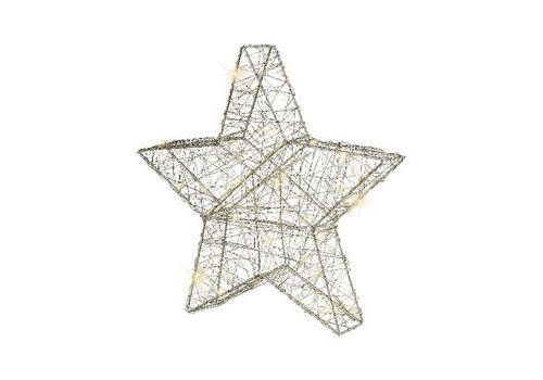 Christmas micro LED silver wire star in warm white with 80 lights
