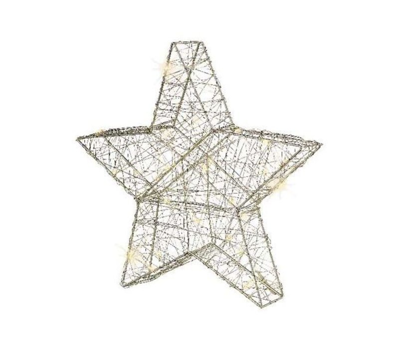 micro LED silver wire star in warm white with 80 lights
