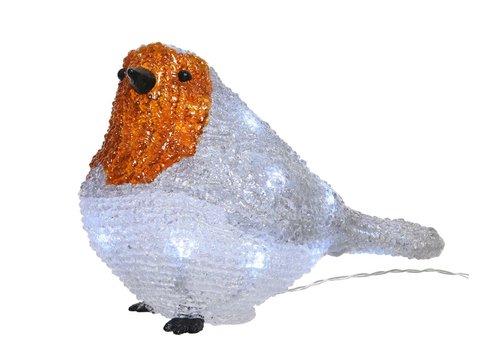 Christmas LED acrylic robin bird outdoors - battery