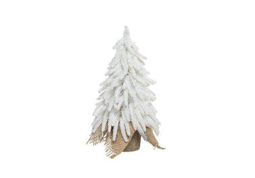 Christmas mini Christmas tree in jute bag with ice & glitter - medium