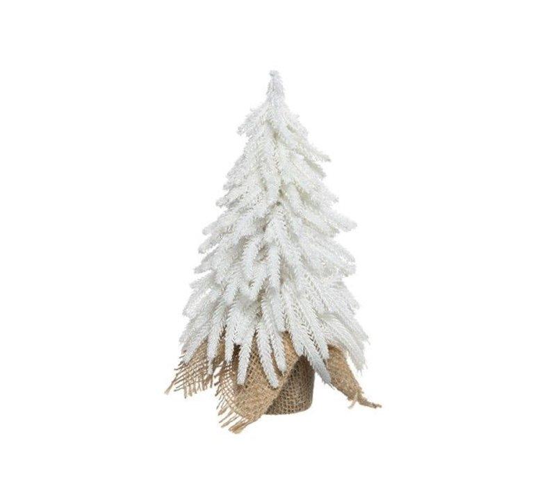 mini Christmas tree in jute bag with ice & glitter - medium