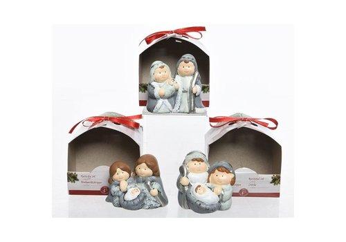 Christmas Nativity Set in grey & white