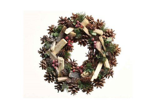 Christmas pinecone wreath w branches, leaf, glitter, berries & pinegreen - 34cm
