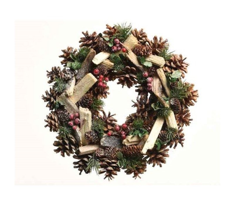 pinecone wreath w branches, leaf, glitter, berries & pinegreen - 34cm