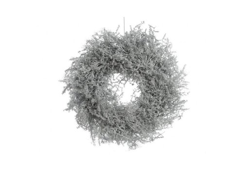 Christmas asparagus wreath waxed w glitter in white - 35cm
