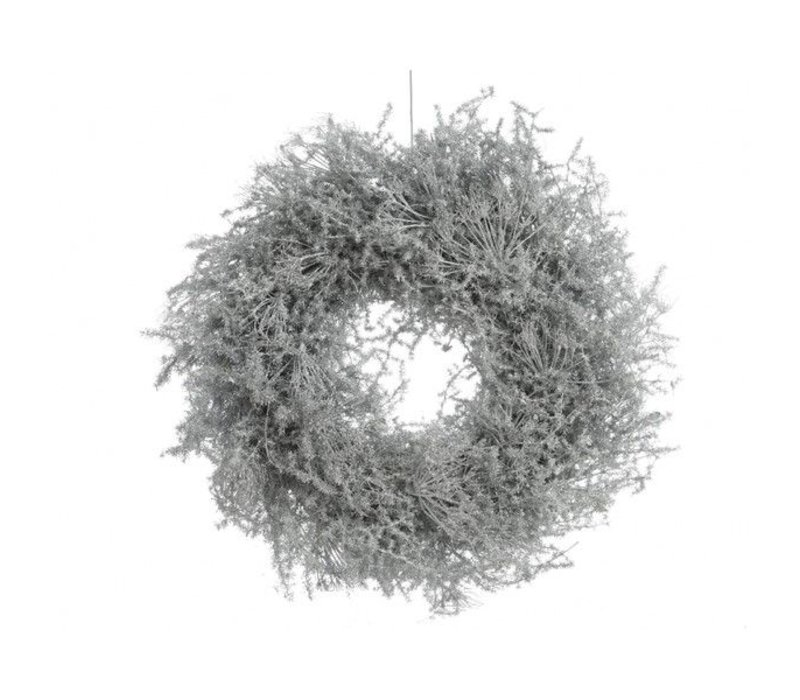 asparagus wreath waxed w glitter in white - 35cm