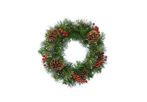 Christmas snowy wreath with berries & pinecones 50cm