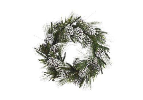 Christmas hardneedle wreath with snowy pinecone - 60cm