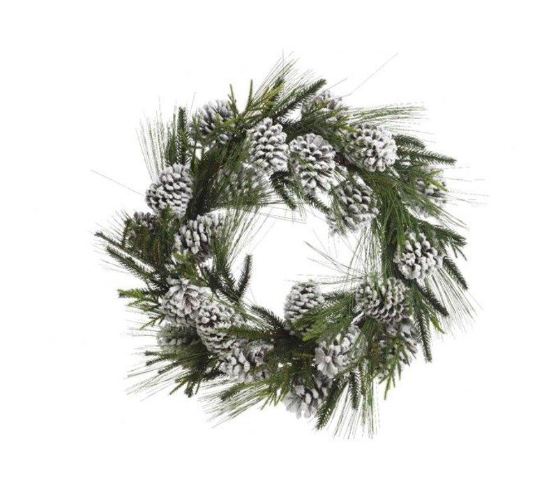 hardneedle wreath with snowy pinecone - 60cm