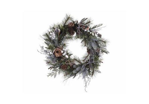 Christmas wreath with robin & birdhouse - 40cm