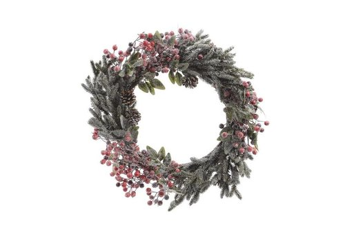 Christmas wreath with berries, snow, pinecones & glitter - 60cm