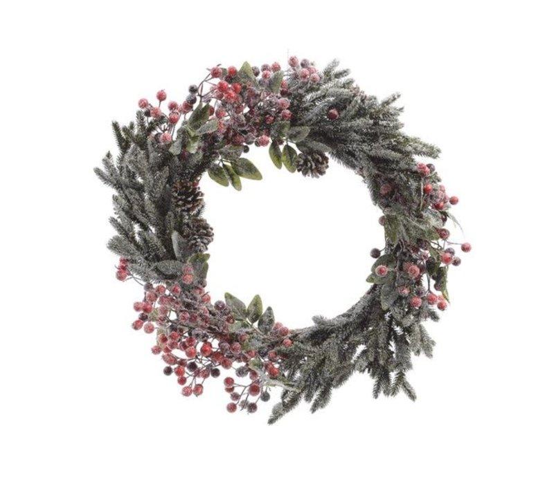 wreath with berries, snow, pinecones & glitter - 40cm