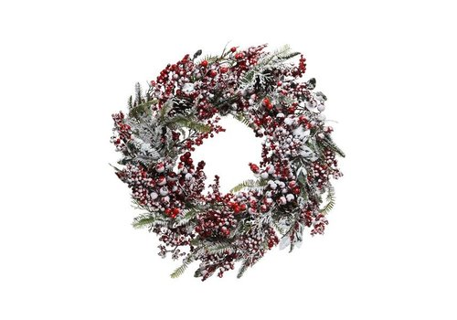 Christmas Frosted wreath with red berries - dia 60cm