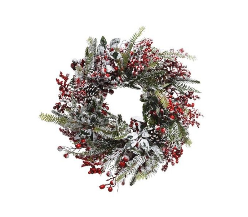 Frosted wreath with red berries - dia 40cm